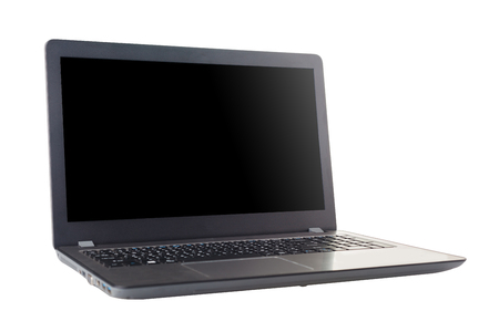 Computer laptop isolated on white background with clipping path and copy space.