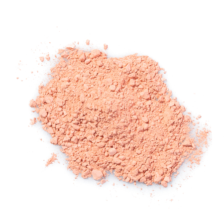 Cosmetic powder beige color crushed blush palette isolated on white 版權商用圖片
