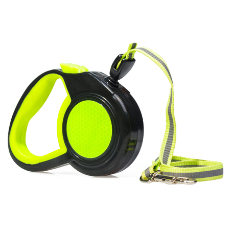 GreenBlack retractable leash for dog isolated on white background