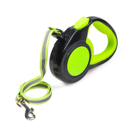 Green/Black retractable leash for dog isolated on white background