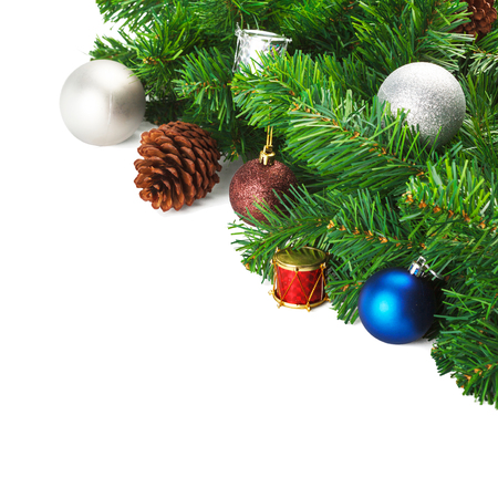 Christmas composition of branches ornament on a isolated white background and copy space