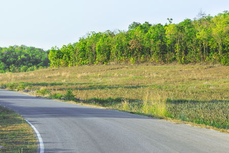 asphalt curve road on Countryside in Thailand
