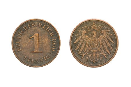 deutschemarks: Old Coin dated 1900, One Pfennig