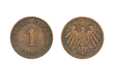 deutschemarks: Old Coin dated 1900, One Pfennig