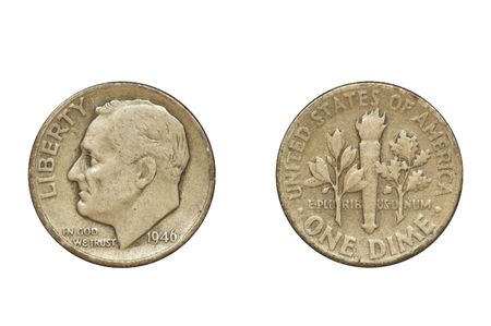 dime: Old coin produced in 1946 in USA - one dime, front and rear view