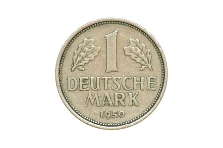 deutschemarks: Old coin - front side of One Deutschemark produced in 1950. (isolated) Stock Photo