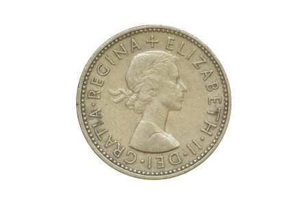 shilling: Old coin - front side of One Shilling produced in 1958. (isolated)