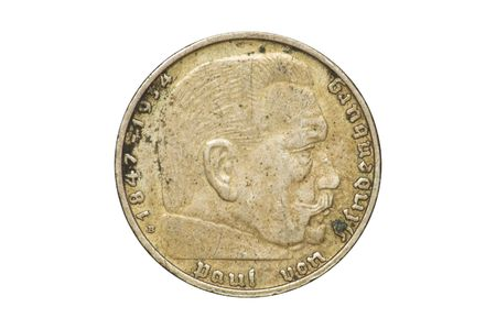 deutschemarks: Old coin - front side of 2 (two) marks produced by The Third Reich in 1938 (Second World War). (isolated)