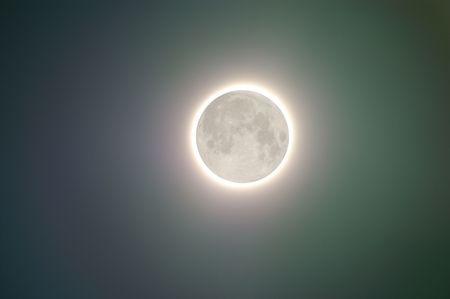 merged: Full moon glowing - two shots merged