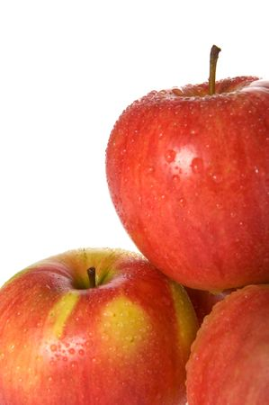 dewdrops: Red apples with dewdrops isolated Stock Photo