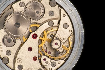 watch over: Works of pocket watch over black