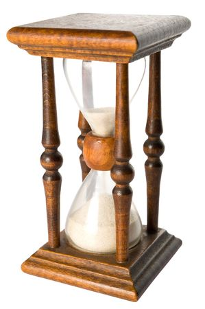 timelapse: Hourglass isolated on white Stock Photo