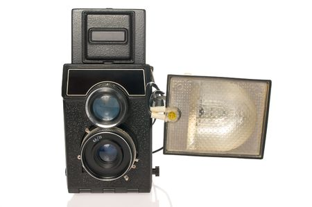 Twin-lens camera with flash isolated photo