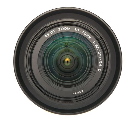 autofocus: Standard zoom lens with hood totally isolated Stock Photo