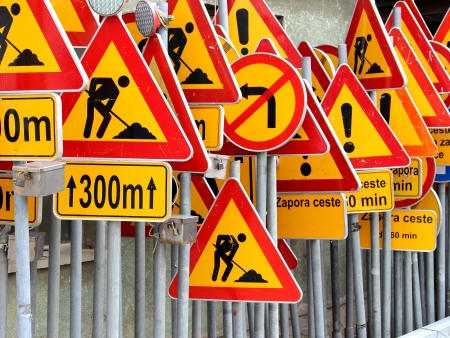 warning signs: Road signs Stock Photo
