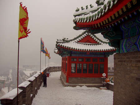 The Great Wall is in the snow from China Stock Photo