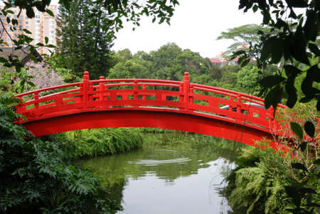 This is a red small bridge in the south of China.