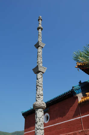 thi is a part of the temple of buddhism in China. Stock Photo