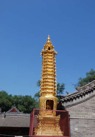 This is a tower in temple of buddhism.