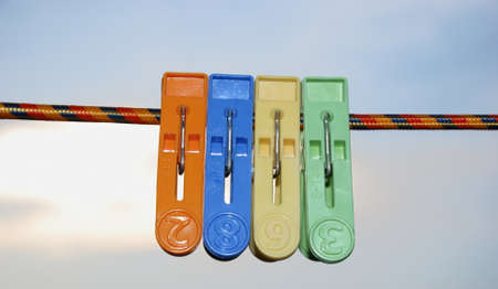 greem: This is four clip on the line. Stock Photo
