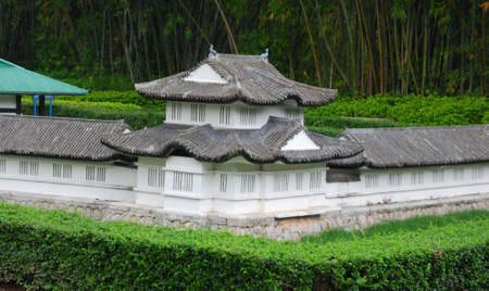 The traditional architects models from the East in the public park of China Stock Photo