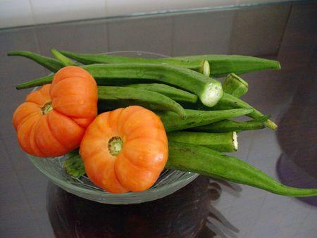 ladys: Ladys Finger & Sour Tomato                                Stock Photo