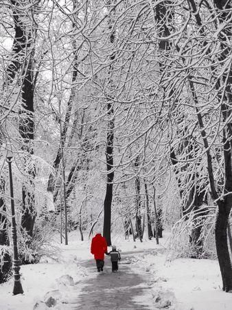 grandsons: Walking in a park in winter
