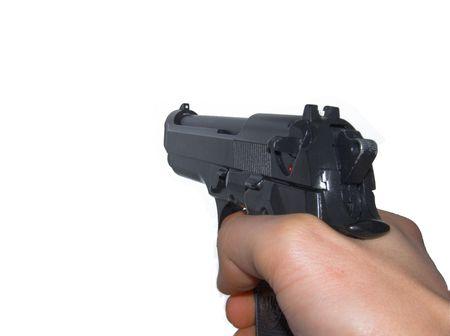 Aiming a pistol photo