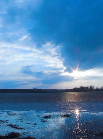 Sun reflecting in a lake
