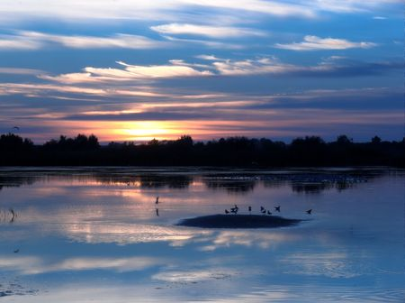 Sunset by the lake Stock Photo - 464033