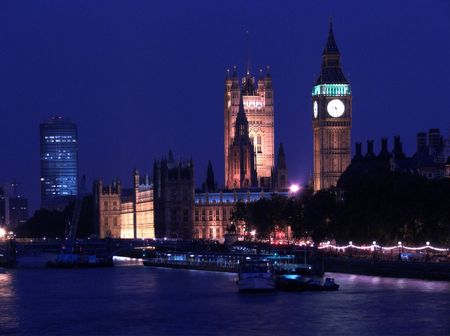 London: Houses of Parliament at night photo