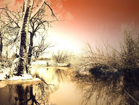 snowlandscape: Frosty winter sunset