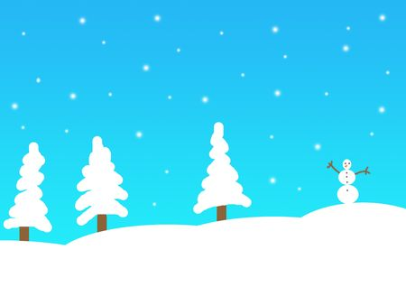 Simple winter landscape illustration illustration