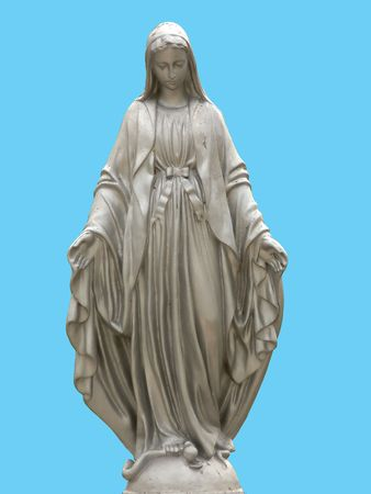 maria: A statue of saint Mary isolated against blue background