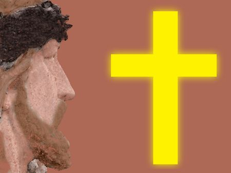 crucify: Jesus and a cross Stock Photo
