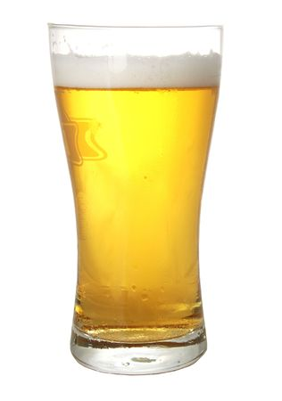 beerhouse: A glass of beer isolated on white background