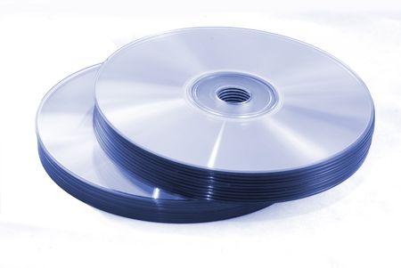 Blue CDs on white background