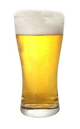 A glass of beer against white background photo