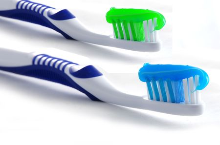 Two toothbrushes on white background Stock Photo - 787264