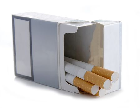 mortality: A packet of cigarettes on white background Stock Photo