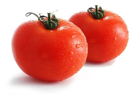 Fresh tomatoes sprinkled with water on white background photo