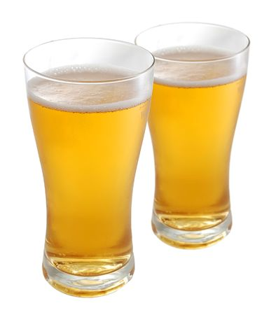 bleb: Two glasses of beer isolated on white background