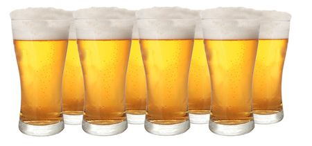 beerhouse: Glasses of beer isolated on white background Stock Photo
