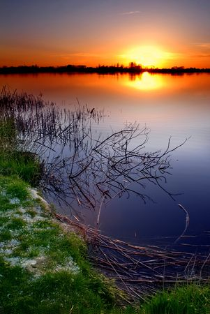 Sunset by the lake Stock Photo - 872316