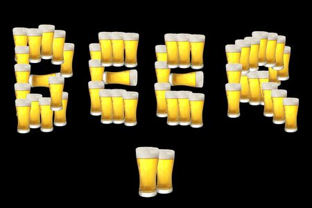 The word beer composed of beer pints photo
