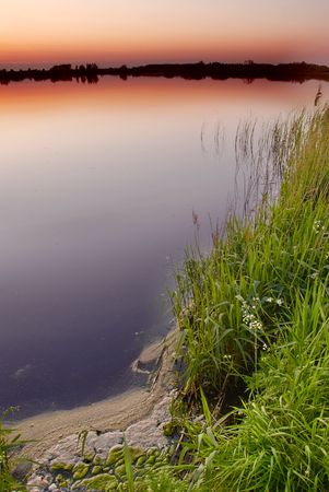 Dusk by the lake photo