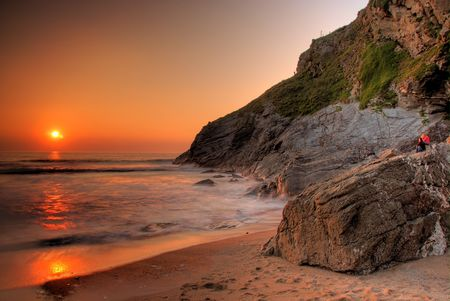 Lusty beach in Newquay, Cornwall, UK photo