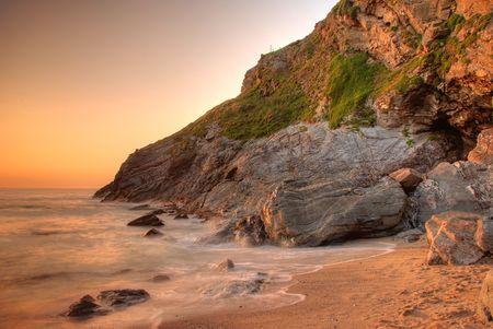 cornwall: Lusty beach in Newquay, Cornwall, UK