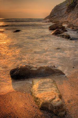 atmospheric: Lusty Glaze beach in Newquay, Cornwall, UK Stock Photo