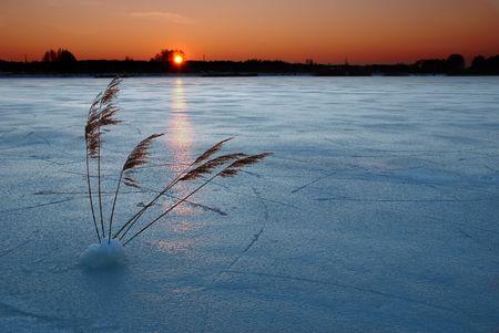 Frozen lake at sunset Stock Photo - 1289455